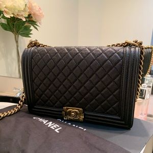 CHANEL Bags - Chanel Old Medium Black Caviar Boy Bag w Gold HW